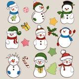 Colección del muñeco de nieve Fotos de archivo libres de regalías