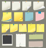 Colección del papel y del post-it Foto de archivo