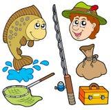 Colección del pescador de la historieta Imágenes de archivo libres de regalías