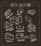 Colección del queso Dé el tipo exhausto de queso en boa de la tiza Foto de archivo