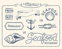 Colección del restaurante de los mariscos del vintage Imagenes de archivo