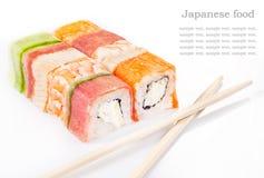 Colección del rodillo del sushi Foto de archivo libre de regalías