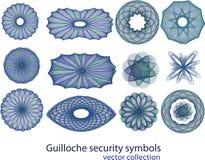 Colección del símbolo de la seguridad del guilloquis Imagen de archivo