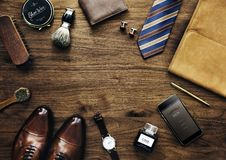 Colección del ` s de los hombres de accesorios diarios del negocio del uso Imágenes de archivo libres de regalías