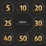 Colección del ` s del logotipo del aniversario 5to, 10mo, vigésimo, 25to, trigésimo, 40.o, 50.o, 60.os logotipos del oro de la ce Imagen de archivo libre de regalías