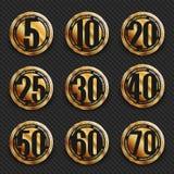 Colección del ` s del logotipo del aniversario 5to, 10mo, vigésimo, 25to, trigésimo, 40.o, 50.o, 60.o, 70.os logotipos del oro de Fotos de archivo libres de regalías