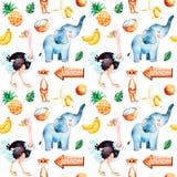 Colección del safari con la avestruz linda, elefante, meerkat stock de ilustración