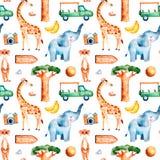 Colección del safari con la jirafa linda, elefante, meerkat stock de ilustración
