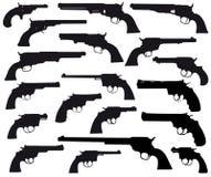 Colección del silhouett del arma, revólveres Foto de archivo