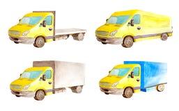 Colección del sistema de la acuarela de vehículos amarillos comerciales ligeros en el fondo blanco aislado imágenes de archivo libres de regalías