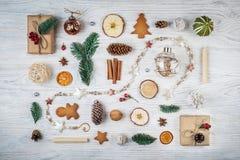 Colección del sistema de la Navidad, fondo con las decoraciones Navidad foto de archivo libre de regalías
