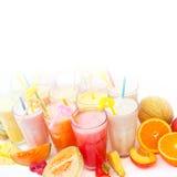 Colección del smoothie de la fruta Fotos de archivo libres de regalías