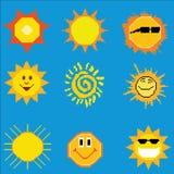 Colección del sol del arte del pixel Fotografía de archivo libre de regalías