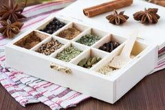 Colección del surtido de especias y de hierba en la caja de madera, CCB de la comida Imagen de archivo