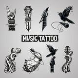 Colección del tatuaje de la música Imágenes de archivo libres de regalías