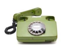 Colección del teléfono - teléfono análogo viejo del disco Fotografía de archivo