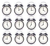 Colección del tiempo de reloj de alarma Fotografía de archivo libre de regalías