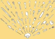 Colección del utensilio de la cocina stock de ilustración