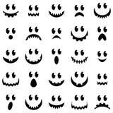 Colección del vector de caras fantasmagóricas del fantasma y de la calabaza de Halloween Imágenes de archivo libres de regalías