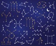Colección del vector de constelaciones de la muestra del zodiaco ilustración del vector