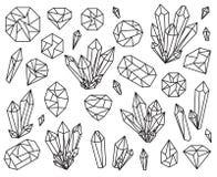 Colección del vector de cristales y de piedras preciosas hermosos Foto de archivo