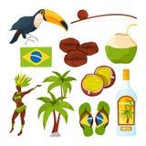 Colección del vector de diversos símbolos brasileños libre illustration