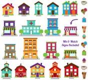 Colección del vector de edificios de ciudad y del pueblo Fotos de archivo