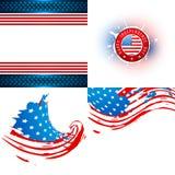 Colección del vector de ejemplo de la bandera americana ilustración del vector