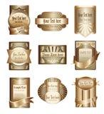 Colección del vector de escrituras de la etiqueta de oro de lujo Foto de archivo