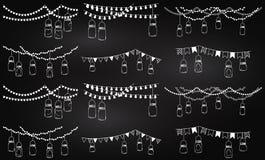 Colección del vector de estilo Mason Jar Lights de la pizarra Fotografía de archivo libre de regalías