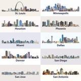 Colección del vector de horizontes de la ciudad de Estados Unidos Foto de archivo libre de regalías