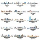 Colección del vector de iconos de los horizontes de las ciudades de Estados Unidos stock de ilustración