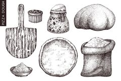 Colección del vector de ingredientes de la pasta de la pizza La panadería o la pizzería da elementos exhaustos Dibujos de la comi ilustración del vector