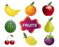 Colección del vector de la fruta Imagenes de archivo