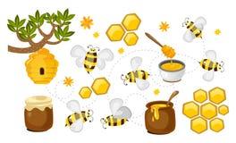 Colección del vector de la miel y de la abeja panales, tarros con la miel y sistema colorido de las abejas Ejemplo de la apicultu libre illustration