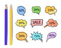 Colección del vector de las etiquetas engomadas de la venta, burbujas de la charla con diversos descuentos aisladas libre illustration