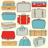 Colección del vector de maletas del vintage Imagenes de archivo