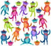Colección del vector de monos lindos y coloridos del calcetín ilustración del vector