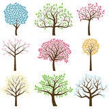 Colección del vector de siluetas del árbol Imágenes de archivo libres de regalías