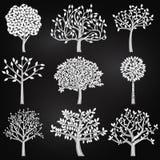 Colección del vector de siluetas del árbol del estilo de la pizarra Fotos de archivo libres de regalías