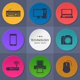 Colección del vector de tecnología plana colorida Fotos de archivo libres de regalías