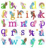 Colección del vector de Unicorn Themed Alphabet Letters lindo Fotografía de archivo libre de regalías
