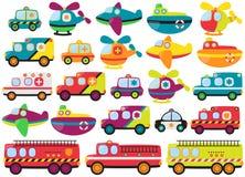 Colección del vector de vehículos de rescate lindos de la emergencia Fotografía de archivo libre de regalías
