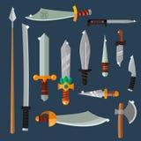 Colección del vector del arma de los cuchillos Imagenes de archivo