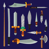 Colección del vector del arma de los cuchillos Foto de archivo libre de regalías