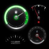 Colección del vector del velocímetro del indicador de la gasolina Fotos de archivo libres de regalías