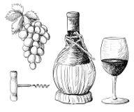 Colección del vino Vector el ejemplo con el barril de vino, copa de vino, uvas, ramita de la uva Drenaje de la mano stock de ilustración