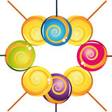 Colección deliciosa colorida del lollipop Imagen de archivo libre de regalías