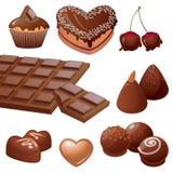Colección deliciosa de los dulces del chocolate Fotos de archivo