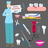 Colección dental con el doctor y las herramientas Fotografía de archivo libre de regalías